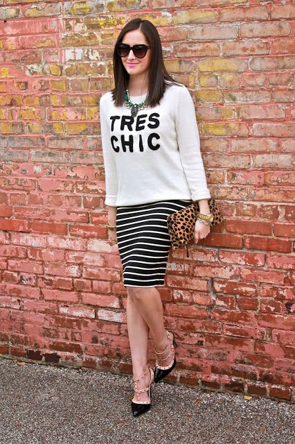 Wake Up Your Wardrobe What I Wore: Clean Lines Tres Chic Sweater, Striped Jersey Knit Skirt, Rock Stud Heels, Clare Vivier Clutch