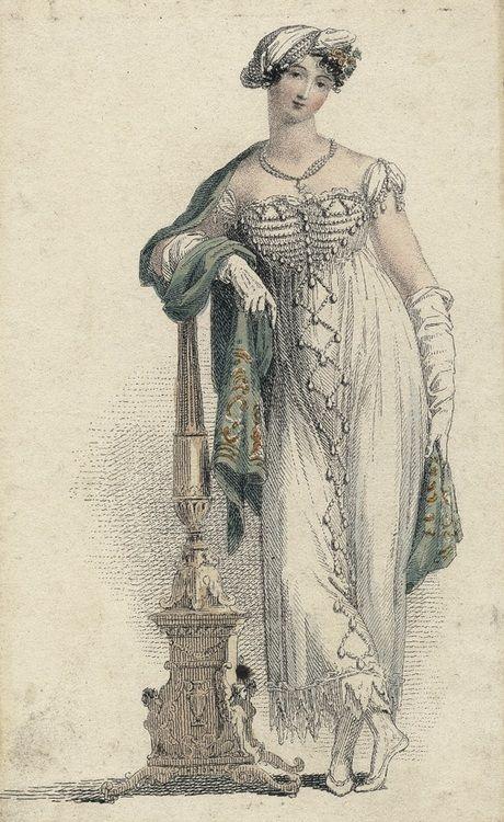 June evening dress, 1813 England, Ackermann's Repository