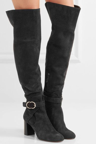 Chloé - Suede Over-the-knee Boots - Black - IT41.5