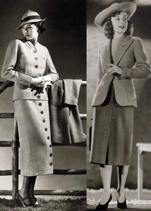 мода 1930-х женский костюм