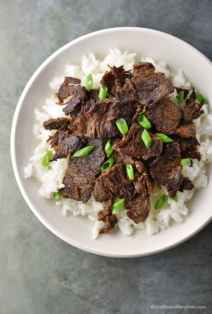 Easy Bulgogi Recipe by shewearsmanyhats.com. Thinly sliced steak marinated in grated pear, ginger, sugar, soy and sesame oil then stirfried