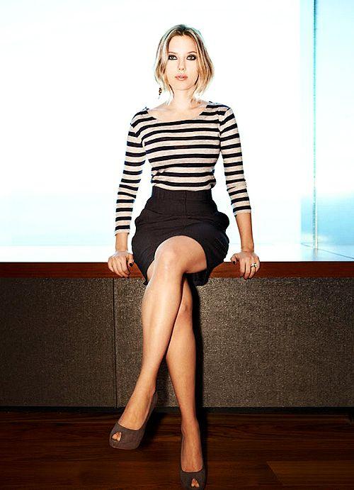 Scarlett Johansson, black/white striped top with black skirt.. Love what she's wearing!