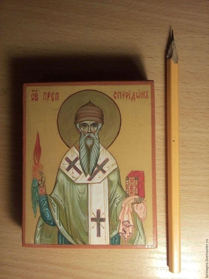 Купить Спиридон Тримифунский - икона, спиридон тримифунский, иконы, палех, русские иконы, древние