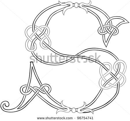 A Celtic Knot-work Capital Letter S Stylized Outline. Raster Version. by Theo Malings, via Shutterstock
