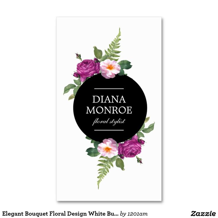 Designer Business Card Template for Florists, Flower Shops, Floral Designers, Event Stylists, Wedding Planners, Interior Designers and more. Stylish, chic and eye-catching design by 1201AM.