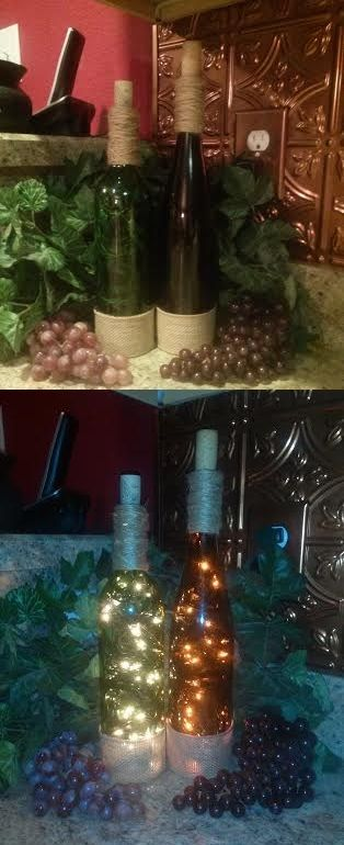 Wine Bottle Lamp/Lights in my Italian themed kitchen. Made by NikkiNicole