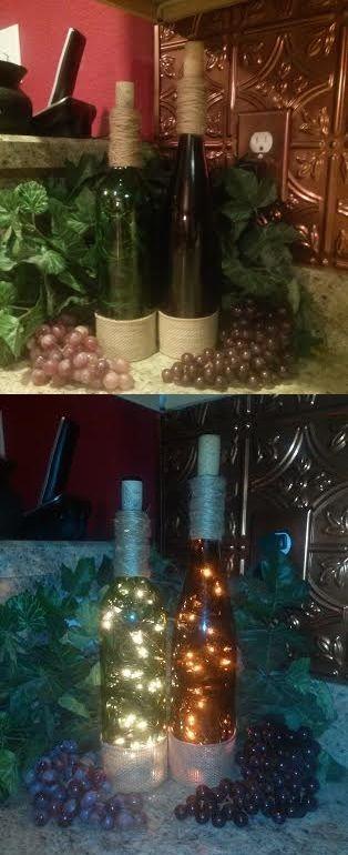 Wine Bottle Lamp/Lights in my Italian themed kitchen. Made by NikkiNicole