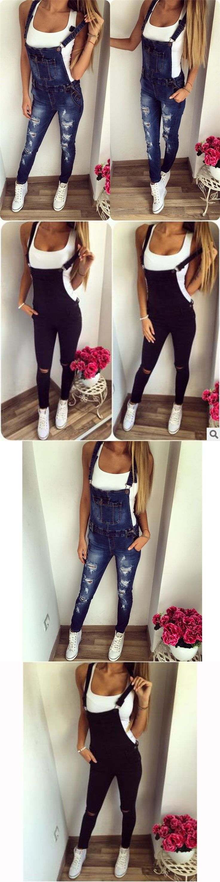 Casual Jumpsuits Women Solid Spring Ripped Hole Denim Jumpsuits Female Sexy Slim Push up Jeans Romper Freddy Denim Overalls z15 #rippedjeanswomenspring #rippedjeanswomencasual
