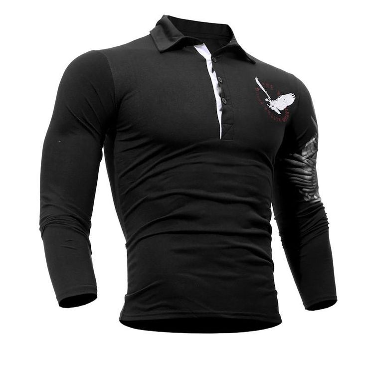 Mens Polo Shirt 2017 Long Sleeve Casual Slim Solid Eagle Printing Polo Men Jerseys #top #fitnessapparel #activewear #amalhantashfitness #sportswear #tshirt #shirt #blouse