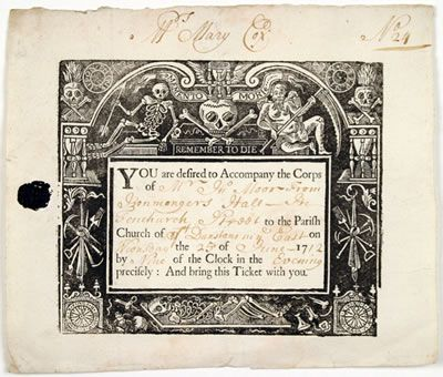 Georgian Gentleman -- Death in the Afternoon 18th Century Style and the Undertakers Bill. (Image is an invitation from 1712 to the funeral of Mr. John Moor.)
