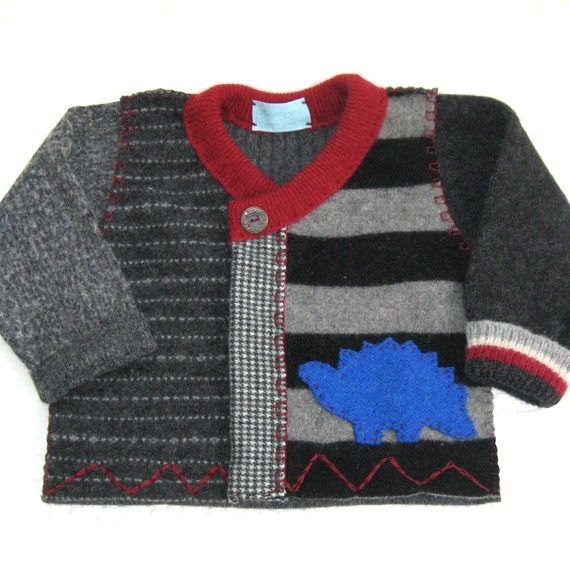 Etsy Inspiration: HARALD THE DINOSAUR Toddler Boy Sweater made from recycled materials @Ulla Velling Velling M Holm