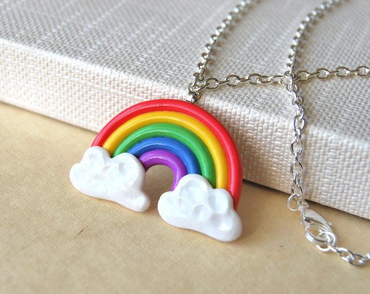 Rainbow Necklace Polymer Clay Handmade Pendant. $17.00, via Etsy.