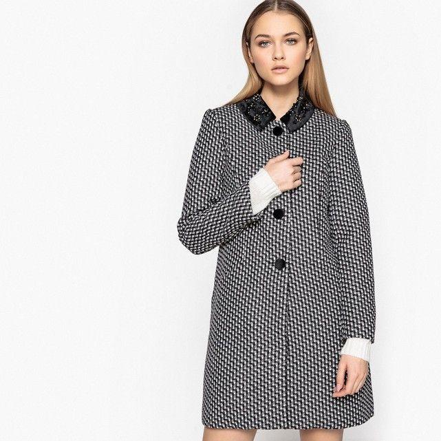 Manteau droit motif géométrique MADEMOISELLE R
