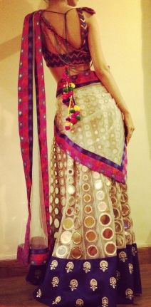 Pink purple white gold sari