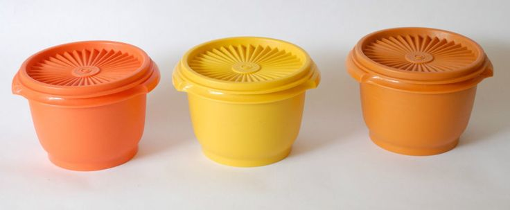 Three Vintage Tupperwear Harvest Lidded Containers Good Condition
