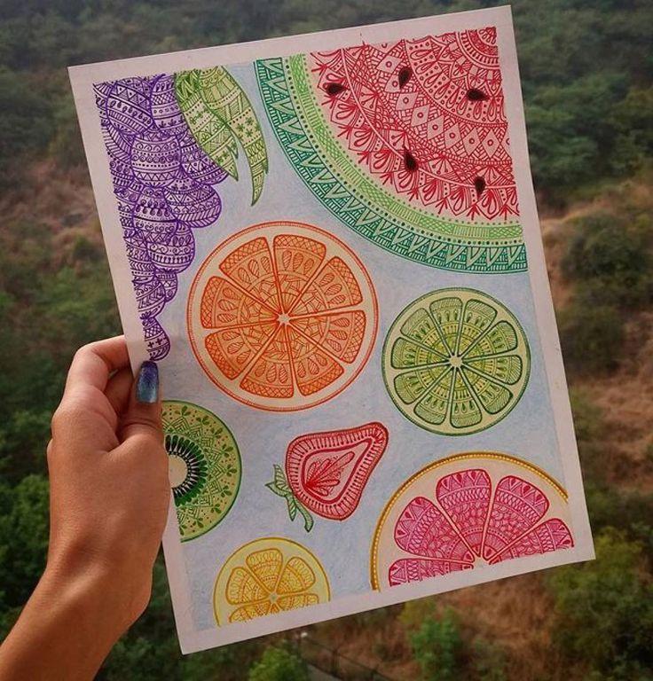 By @art_feather_79 ・・・ Fruit Mandala!! ❤ #mandala #mandalaplanet #mandalala #mandalalovers #fruits #fruitmandala #mixmedia #zenartfeatures #zentangle  #colourfulmandala #colourful #artistic_unity_ #iartpost #iartlove #art #artistworld #artlove #fruity #vibrance #details #sakuraindia #sakuragellyroll #createinnovatedesign