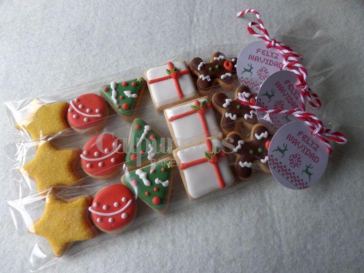 Bolsas de galletas decoradas para Navidad
