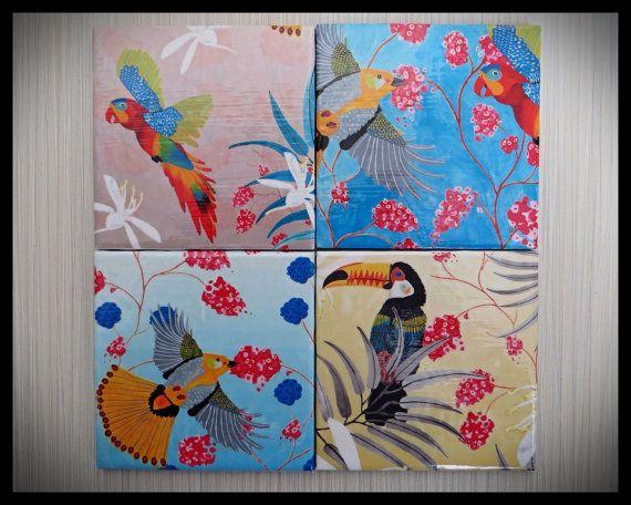 Tropical Birds Four Piece Ceramic Tile by LuShahrinCoasterLand, $16.00