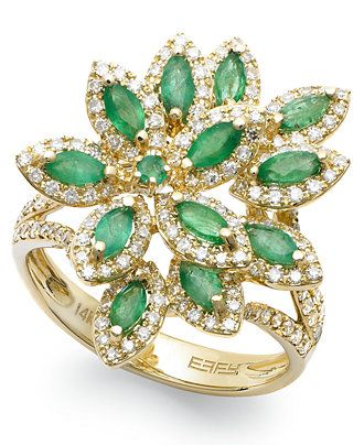 Brasilica by EFFY� Emerald (1-1/16 ct. t.w.) and Diamond (5/8 ct. t.w.) Flower Ring in 14k Gold - Emerald Rings - SLP - Macy's