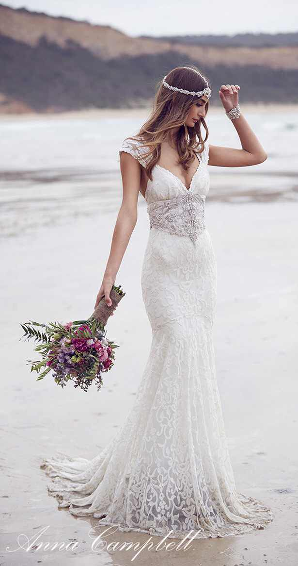 Love this simple lovely wedding dress.   •| http://bellethemagazine.com/wp-content/uploads/2015/08/wedding-dress-anna-campbell-spirits-collection-21.jpg