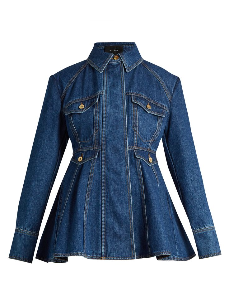 "Ellery is known for Modern Cuts and Sculptural Silhouettes, as this ""Pro Protest"" Dark Wash Denim Jacket shows. It has a Semi-Fitted Bodice and Wide Peplum. Wear it with a Tonal Blue Tiered Silk Maxi-Skirt and a Yellow Printed Cami. Slip a Long Blue Scarf under your collar. I've got Vintage Gold Jewelry, Tan Platform Sandals and a Tan Embossed Bag (It's all on this board). This is Huge Style. - Gabrielle"
