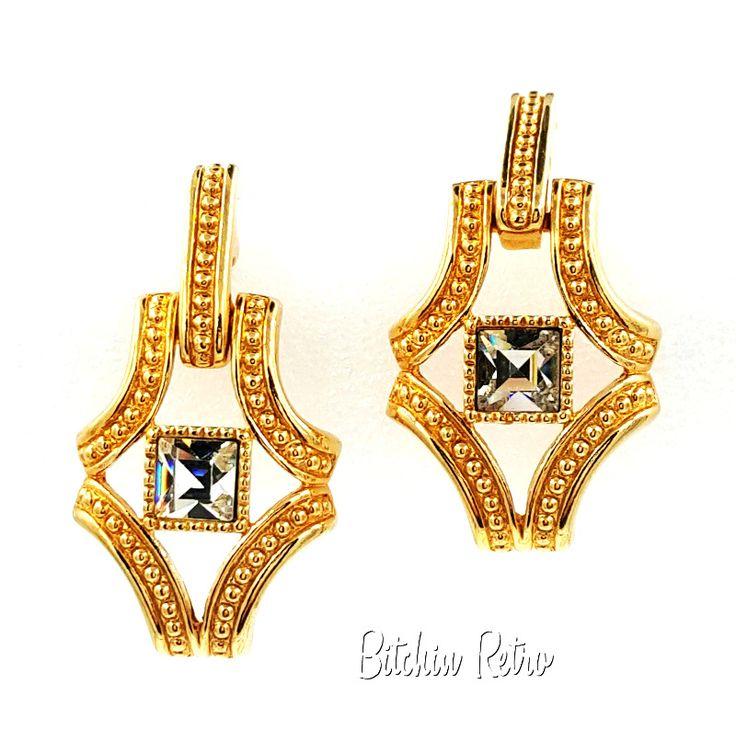 Vintage Swarovski Crystal Earrings  Door Knocker Style  Swan Logo Bridal Holiday #Swarovski #Bride