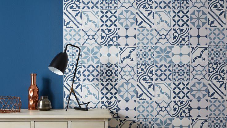 papier peint carreaux bleu divers motifs et dessins pinterest. Black Bedroom Furniture Sets. Home Design Ideas