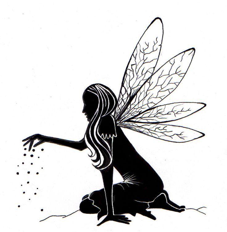 fee silhouette malvorlage  bilder ausmalen