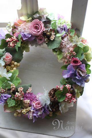 ローズと紫陽花のナチュラルリース