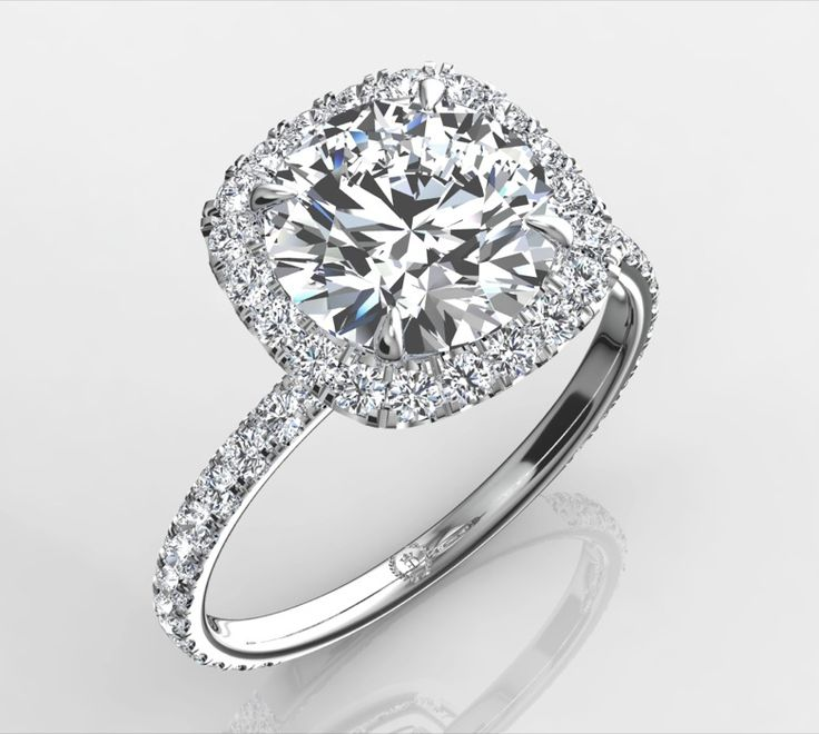 Harry Winston Inspired Ring - Round Center Stone in Cushion Halo Engagement Rings   Eternity By Yoni