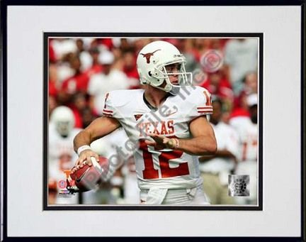 """Colt McCoy Texas Longhorns 2008 Action """"White Jersey"""" Double Matted 8â€� x 10â€� Photograph in Black… #Sport #Football #Rugby #IceHockey"