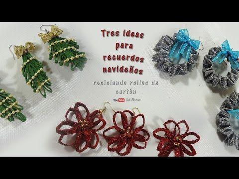 Tres ideas para recuerdos navideños reciclando rollos de cartón -  recycling cardboard rolls - YouTube