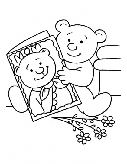 Flowers and a greeting card for my mother on Mothers Day coloring page | Download Free Flowers and a greeting card for my mother on Mothers Day coloring page for kids | Best Coloring Pages