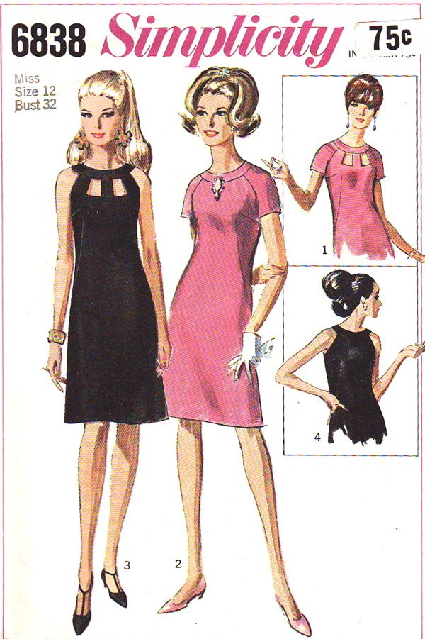 I had a dress when I was a teen made from this1960s Simplicity dress pattern.