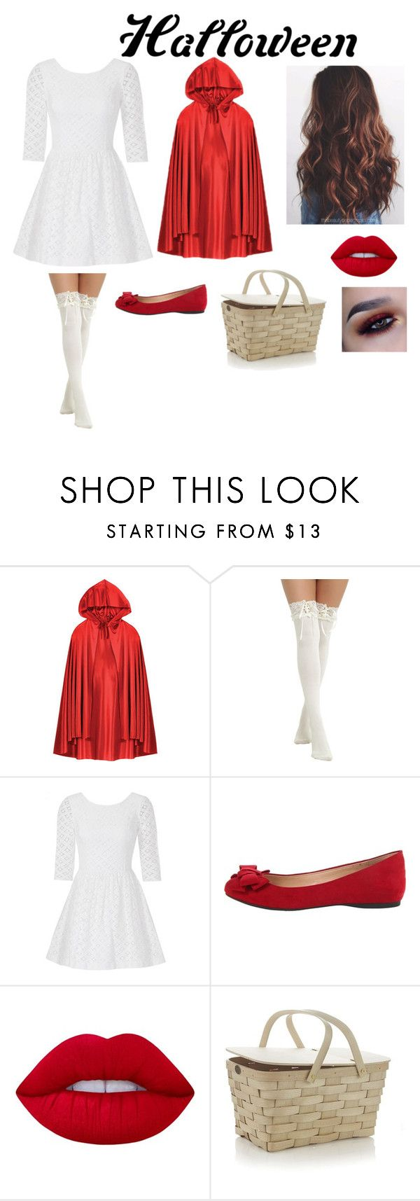 """Little red riding hood : DIY"" by ericalight ❤ liked on Polyvore featuring Lilly Pulitzer, Jessica Simpson, Lime Crime, Crate and Barrel, halloweencostume and DIYHalloween"