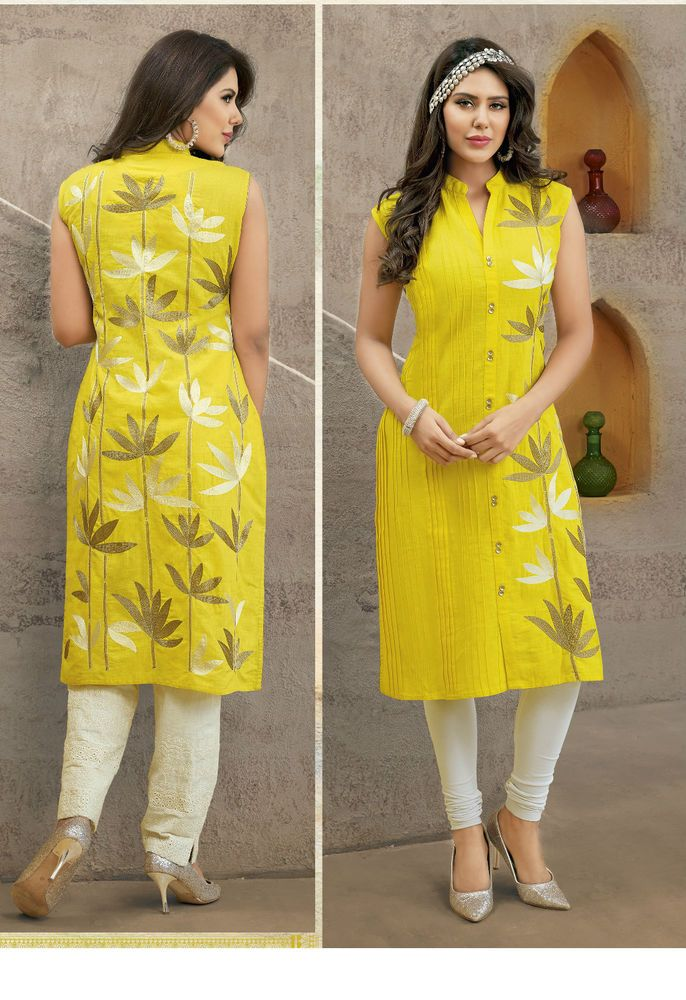 Gorgeous Yellow Cotton Straight Kurti / Kurta
