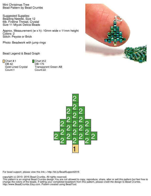 Make these cute mini Christmas Trees with Delica seed beads. Free brick stitch / peyote stitch pattern by Bead Crumbs.
