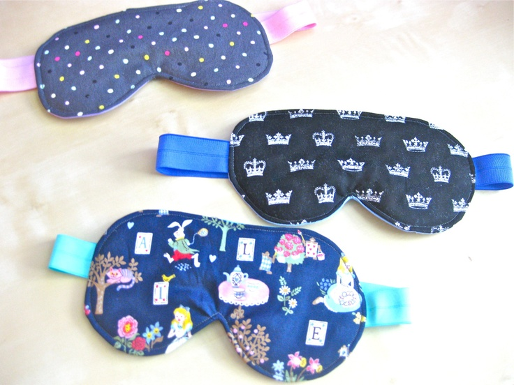 DIY Eye Sleep Mask - use quilt batting or dark coloured felt in between fabric layers to block light out