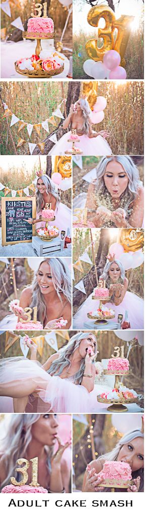 Adult Cake Smash Session for Golden Birthday. 31 on the 31st, by Sunshyne Pix