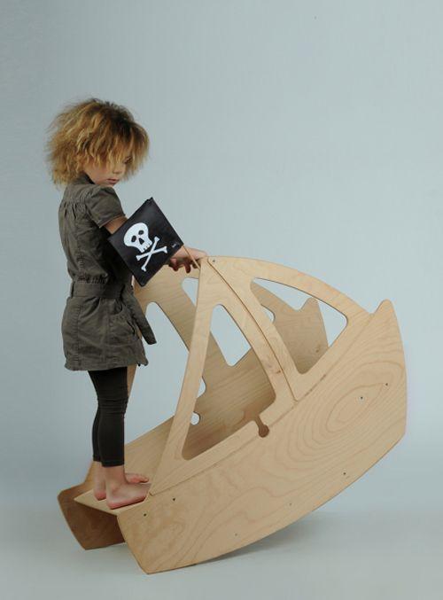 wooden pirate boat rocker - Studio ToutPetit