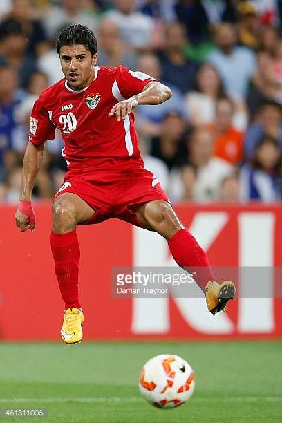 Hamza Al Dardour of Jordan kicks the ball during the 2015 Asian Cup match between Japan and Jordan at AAMI Park on January 20 2015 in Melbourne...