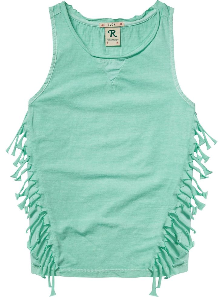 Fringed Jersey Tank Top | Tanks | Girls Clothing at Scotch & Soda