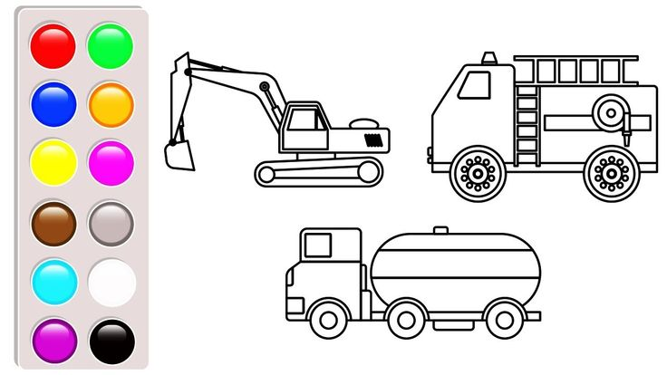 Excavator, fire truck and oil truck coloring pages, Car and truck colori...