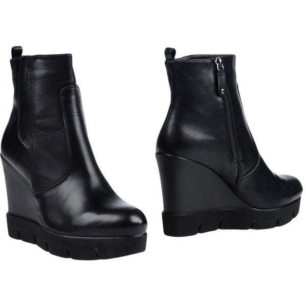 Gioseppo Ankle Boots ($50) ❤ liked on Polyvore featuring shoes, boots, ankle booties, black, black wedge boots, black ankle boots, black boots, wedge ankle boots and wedge ankle booties