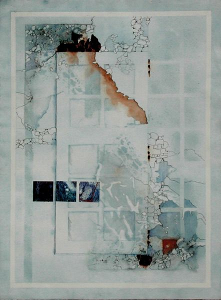 Rusty Window (watercolor and collage, 30×22) by Sue St. John, author of 'Journeys to Abstraction: 100 Contemporary Paintings and Their Secrets Revealed