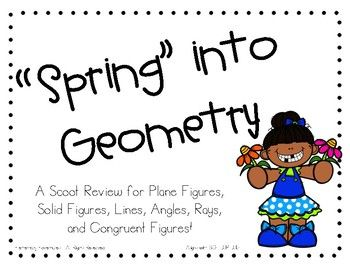 Have students practice what they have learned in Geometry through this fun and engaging Scoot Review Game! Students will scoot around the room to answer 24 questions on geometry questions that they have learned throughout your Geometry Unit. Questions Include:Lines, Angles, Rays, Line Segments, and AnglesSolid and Plane figuresCongruencyAligns with SOL 3.14-3.16