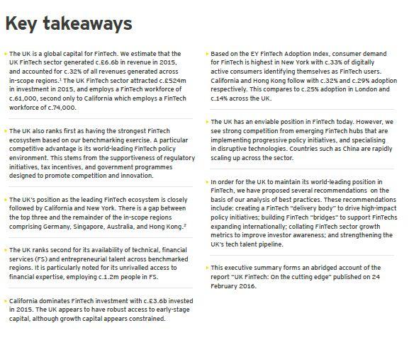 Key Takeaways from EY abridged report on UK FinTech