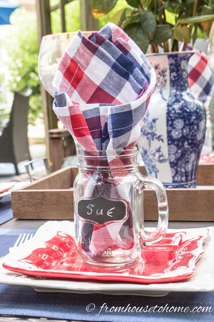 a casual red white and blue place setting easy 4th of july table decorations