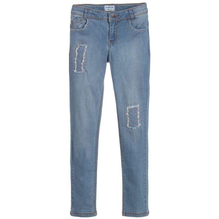 Mayoral Girls Blue Skinny Fit Jeans at Childrensalon.com