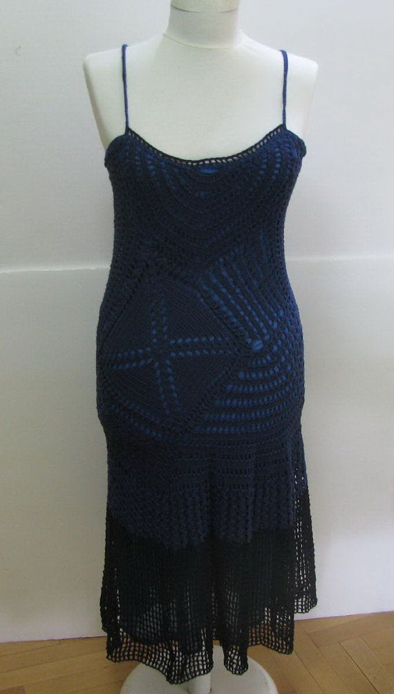 crochet dress romantic dress Blue top. Long dress by knittingwomen